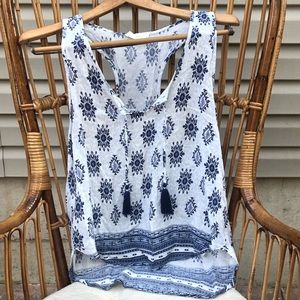 Ocean Drive Boho Style Blouse with tassels Sz Med